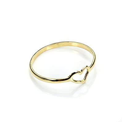 9ct Gold Open Heart Stacking Ring Size I Q Amazon