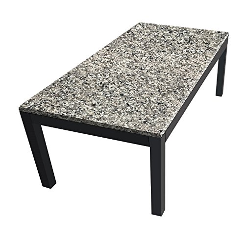 LōM Collection Steel Parsons Coffee Table with Spanish Gray Granite Top - 24