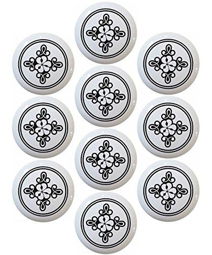 (Flower Scroll Black & White Ceramic Kitchen Cabinet Drawer Pulls Knobs (Set of 10 Knobs))