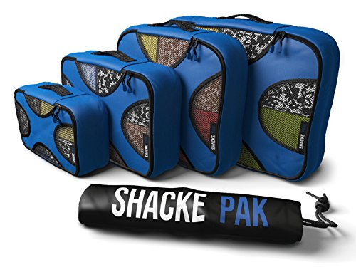 Shacke Pak - 4 Set Packing Cubes - Travel Organizers with Laundry Bag (Gentlemen's Blue) (Best Friend Couple Shirt Design)