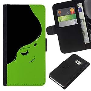 // PHONE CASE GIFT // Moda Estuche Funda de Cuero Billetera Tarjeta de crédito dinero bolsa Cubierta de proteccion Caso Samsung Galaxy S6 EDGE / Minimalist Beautiful 70S Woman /