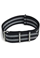 BluShark - 22mm Black and Gray Striped Nylon Watch Strap - James Bond Strap