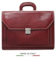 CUSTOM PERSONALIZED INITIALS ENGRAVING Alberto Bellucci Milano Italian Leather Triple Compartment Briefcase by Alberto Bellucci