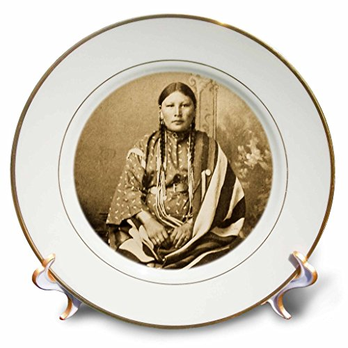 3dRose cp_77337_1 Sioux Woman Sepia Native American-Porcelain Plate, (Native American Porcelain)