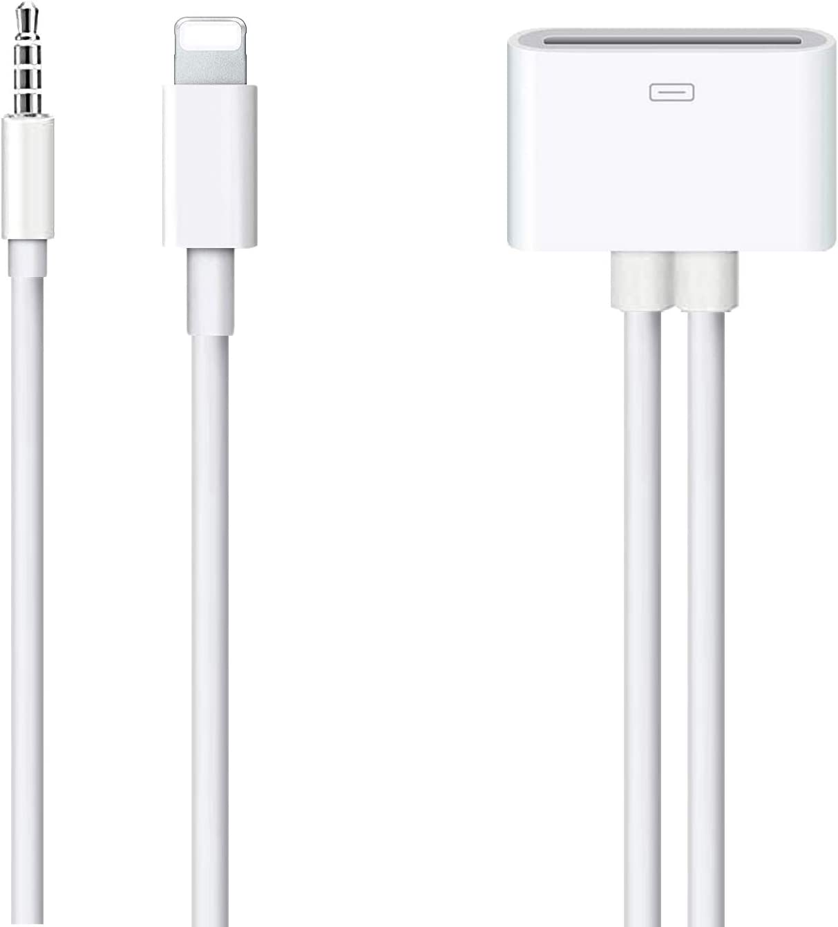 Lightning to 30-Pin Adapter, ROSYCLO MFi Certified 8-Pin to 30 Pin Female Converter with 3.5mm AUX Audio Cable Charging Sync Cord Compatible iPhone 6s/6s Plus/6/6 Plus/SE/5s/5c/5/iPad Devices White