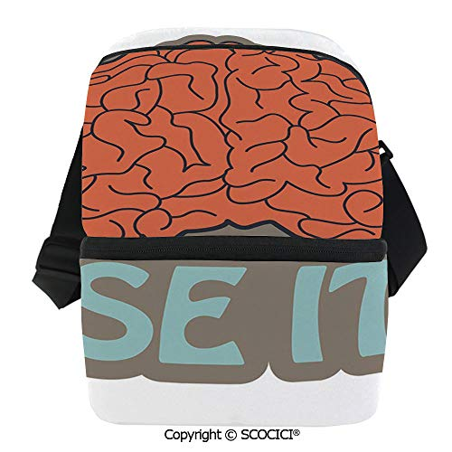 - SCOCICI Reusable Insulated Grocery Bags Got Brain Use It Abstract Human Intelligence Anatomy Cerebrum Cortex Graphic Decorative Thermal Cooler Waterproof Zipper Closure Keeps Food Hot Or Cold