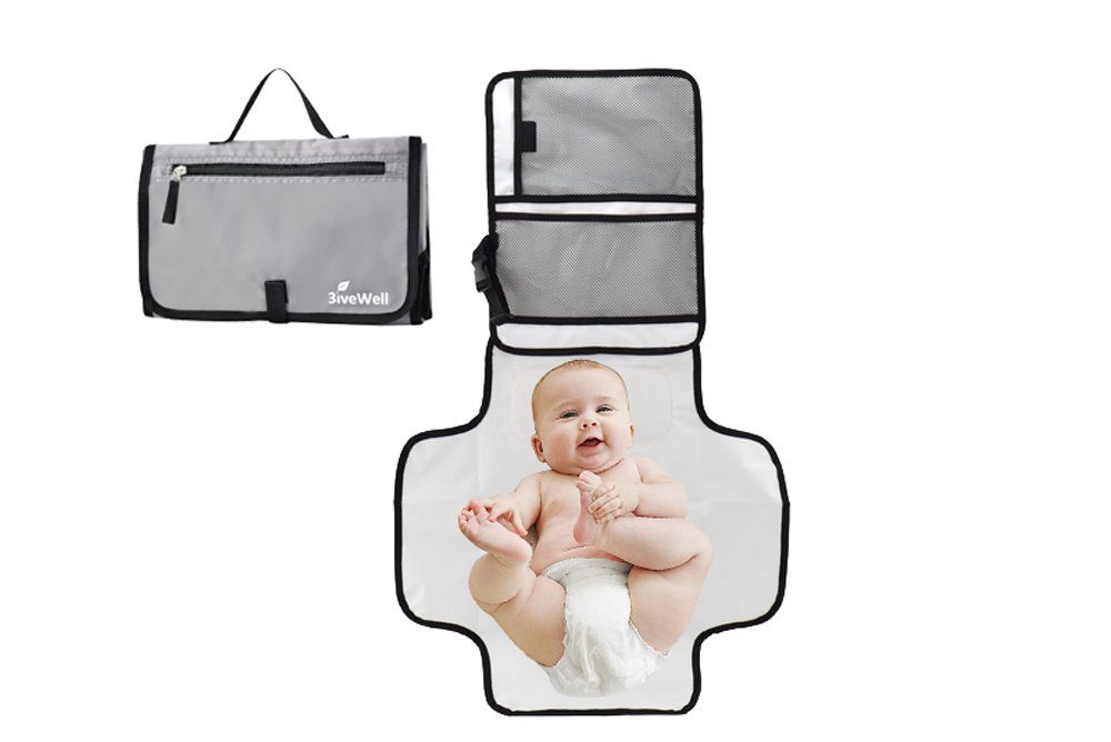 Portable Changing Pad Station for Newborn Baby Infant Diaper Mat Waterproof Compact Wristlet Clutch Holds Wipes & Diapers On The Go Travel Kit for Mom Dad in Grey by 3iveWell