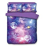 Is California King the Biggest Bed 3D Reactive Dyeing Purple Galaxy Series Duvet Cover Set, Hypoallergenic Soft for Your Family, Fancy for Your Kids, 1pc Duvet Cover + 2pc Pillow Cover, King
