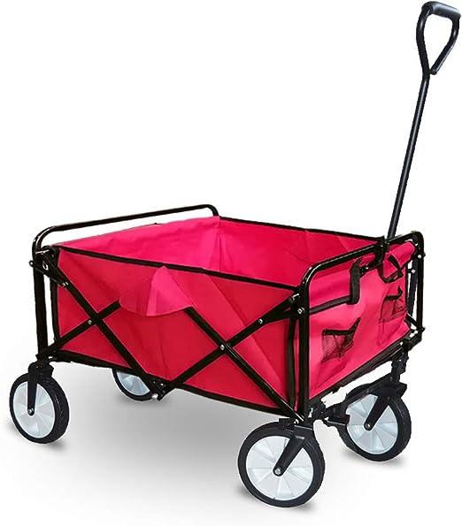 HENGMEI Carretillas de Carro Plegable Carrito transportador carga para Playa, jardín, máxima 75kg, Rojo: Amazon.es: Jardín