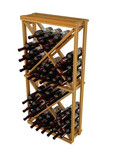 WineMaker Series Wine Rack – 1 Column Open Diamond Cube – 4 Ft – Premium Redwood Unstained