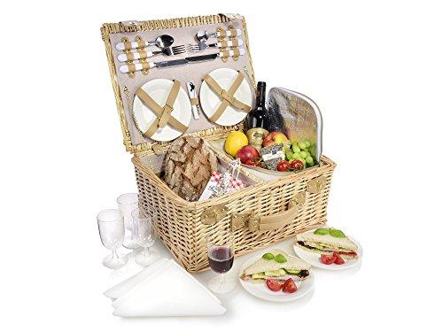 Snger-Picknickkorb-aus-Weidengeflecht-mit-integrierter-Khltasche-Innenseite-aus-Stoff-in-Beige-Der-Weidenkorb-beinhaltet-Teller-Besteck-und-Glser-sowie-Stoffservietten-fr-4-Personen