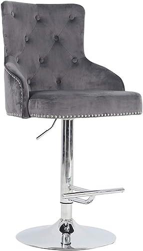 Irene House Adjustable Height Velvet Fabric Bar Stool Tufted Upholstered Barstool