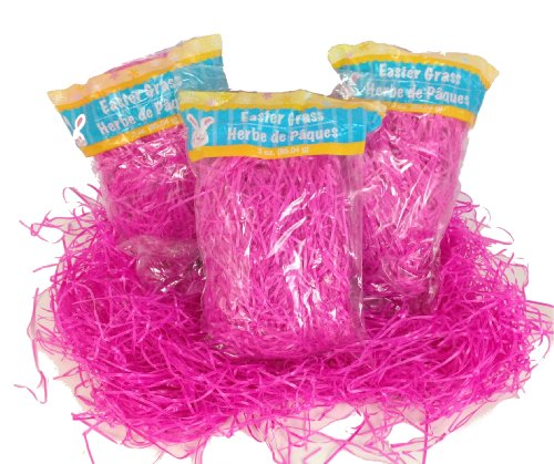3 Pack of Pink Reusable Shredded Plastic Easter Basket Grass Bags Bundle 255g Total Party Accessory Lot