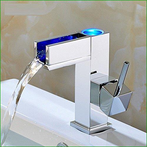 LHbox Das Kupfer LED Waschbecken Temperaturregler 3-farbige Waschbecken im Bad Küche Waschbecken mit warmen und kalten Wasserhahn