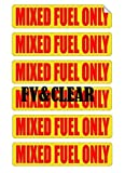 6 pack MIXED FUEL ONLY Decals / Stickers / Labels / Markers Oil Gas Mixture