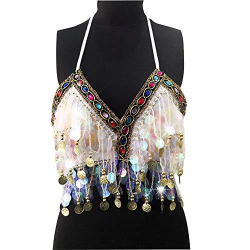 Jamlynbo Sequin Sparkly Halter Top for Women Bohemian Salsa Belly Dance Bra with Glitter Tassels (White)