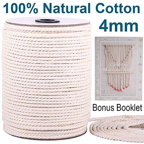 XKDOUS Macrame Cord 4mm x 150Yards, Natural Cotton Macrame Rope, 3 Strand Twisted Cotton Cord for Wall Hanging, Plant Hangers, Crafts, Knitting, Decorative Projects, Soft Undyed Cotton Rope