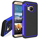 M9 Case, LK [Drop Protection] [Shock Absorption] Impact Resistant Hybrid Dual Layer Armor Defender Protective Case Cover for HTC One M9 (Blue)