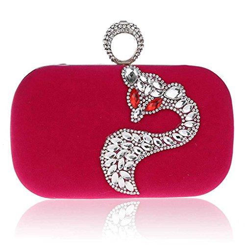 KAXIDY Frizione Sera Partito Borsa Pochette Borsa Con Fox di Cristallo del diamante (Rosa-Rosso)