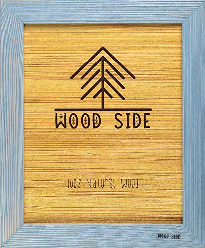 - Rustic Wooden Picture Frame 11x14-100% Natural Solid Eco Distressed Wood for Wall Mounting Photo Frame - Blue