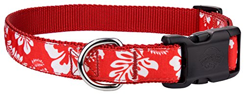 Red Hawaiian Dog - Country Brook Design Deluxe Red Hawaiian Ribbon Dog Collar - Large