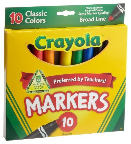 Crayola Broad Line Markers, Classic Colors 10 Each (Pack of 3) by Crayola
