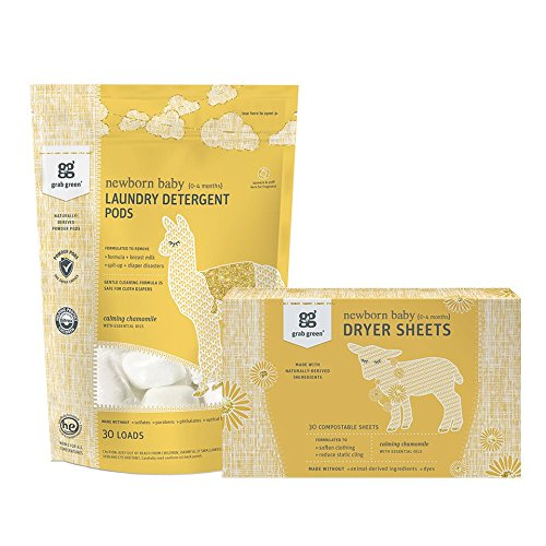 Grab Green {Stage 1; 0-4 Months} Natural Newborn Baby Laundry Detergent Pods & Dryer Sheets Kit, Organic-Enzyme-Powered Powder Pods, Compostable Dryer Sheets, Calming Chamomile, 30 - Natural 4/0