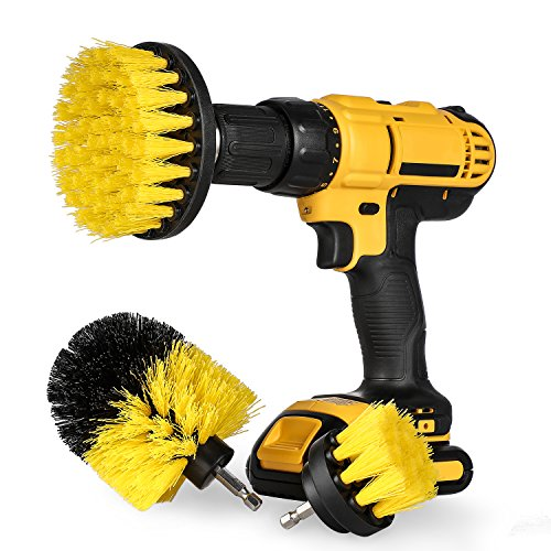 Drill Brush Attachment Set - Power Scrubber Brush Cleaning Kit - All Purpose Drill Brush for Bathroom Surfaces, Grout, Floor, Tub, Shower, Tile, Corners and Kitchen - Medium, Yellow
