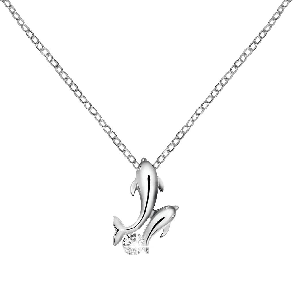 Bobury Cute Dauphin Pendentif Collier Femme Filles Club Crystal Pendant