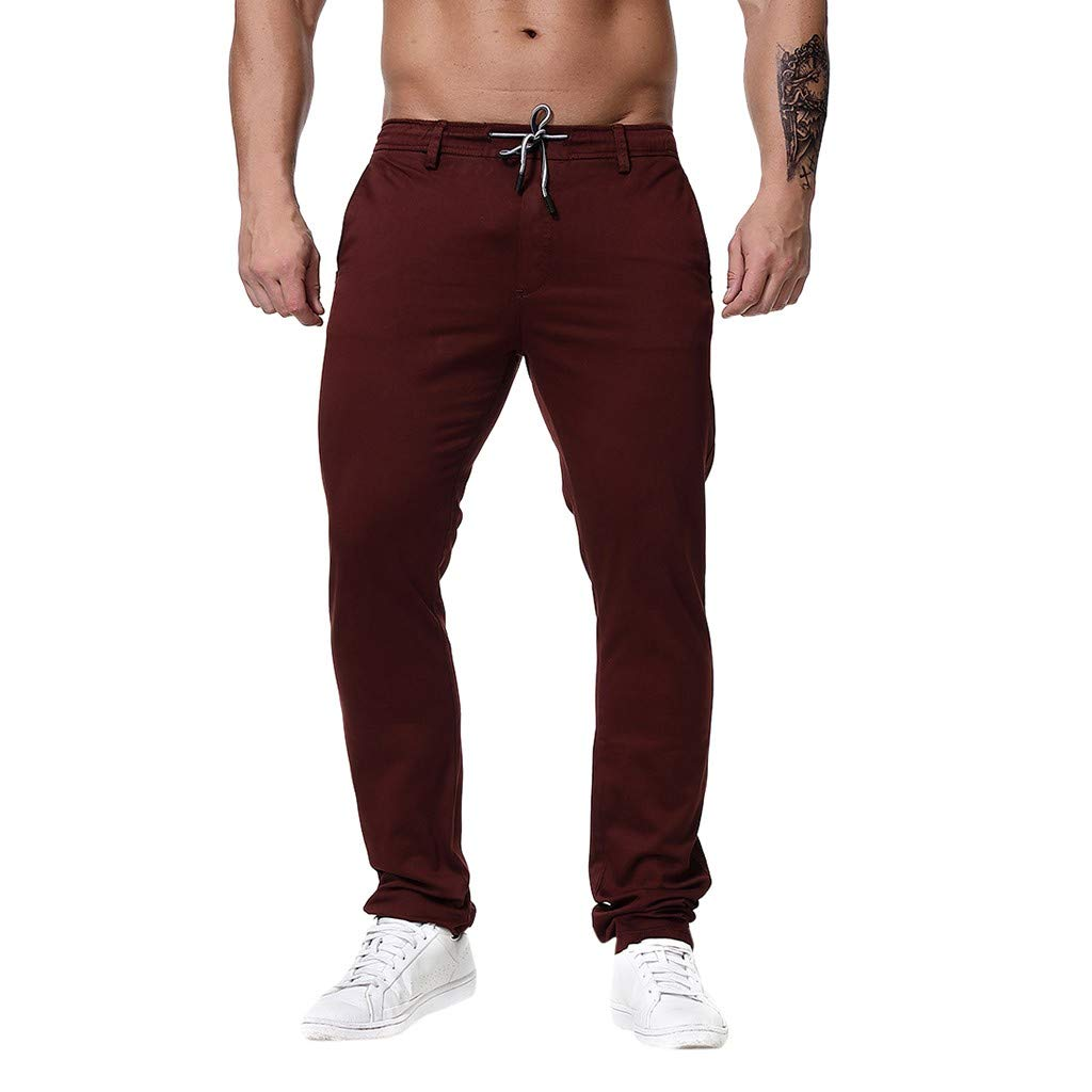 Mens Outdoor Trousers - Fashion Regular Fit Solid Color Casual Work Pants Athletic Workout Sweatpants with Drawstring