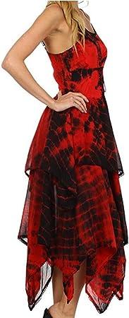 TUDUZ Vestido Manga Corta Verano Irregular de la Moda de Encaje hasta Corsé Blusa Pañuelo Dobladillo Vestido