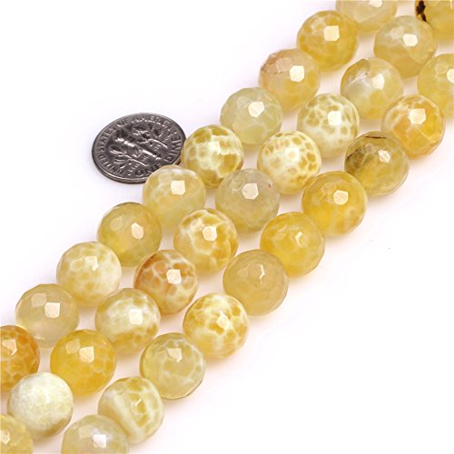 12mm Yellow Round Faceted Fire Agate Stone Beads for for sale  Delivered anywhere in Canada