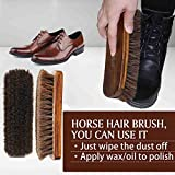 """MAXIMILIAN 8"""" Shoe Shine Brush, 100% Soft Horsehair & Beech Wood Shoe Polish Large Shoe Cleaning - for Shoes, Boots & Other Leather Care"""