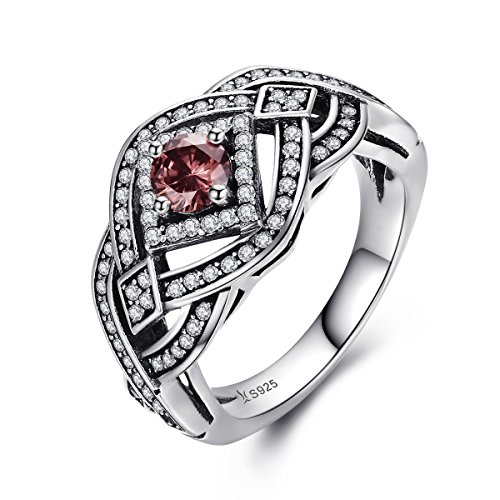 BAMOER 925 Sterling Silver Vintage Stunning Lace Ring Imitated Ruby Solitaire Band Paved Sparkling CZ Stones (Silver Sterling Lace)