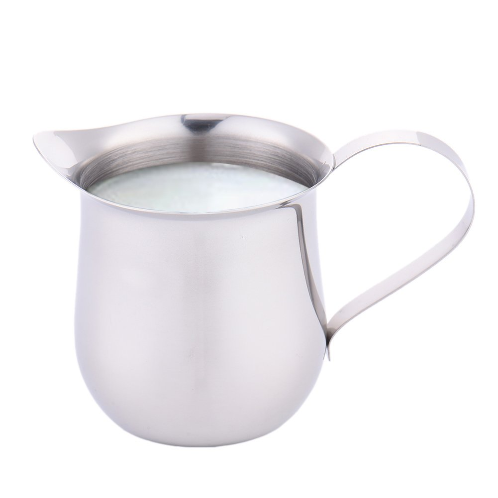 Leche taza drum-shape taza taza de leche para espuma de leche condensada taza café herramienta jarra de acero tainless Tire Flor, Herramientas de Cocina ...