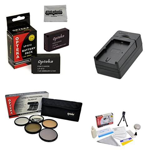 2 Extended Life Replacement Battery Packs For the Canon LP-E12 LPE12 2000mAh Each 4000mAh in Total For The Canon EOS M M2 Rebel SL1 100D DSLR Digital Camera - Includes 2 Batteries + 1 hour AC/DC Rapid Battery Charger + 58MM Professional 5 Piece Filter Kit (UV, CPL, FL, ND4 and 10x Macro Lens) + Deluxe Lens Cleaning Kit + LCD Screen Protectors + Mini Tripod + 47stphoto Microfiber Cloth Photo Print !