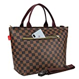 Lunch Box Bag, Leakproof Insulated Lunch Tote Bag for Women, with Removable Shoulder Strap, Waterproof PU Cooler Bag with Extra Zipper Pocket for Picnic/Work/One Day Trip