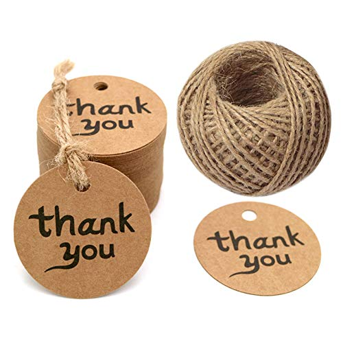 (100PCS Thank You Tags Round Brown Kraft Paper Tag with String Perfect for Baby Shower,Wedding and Party Gift Decorations)