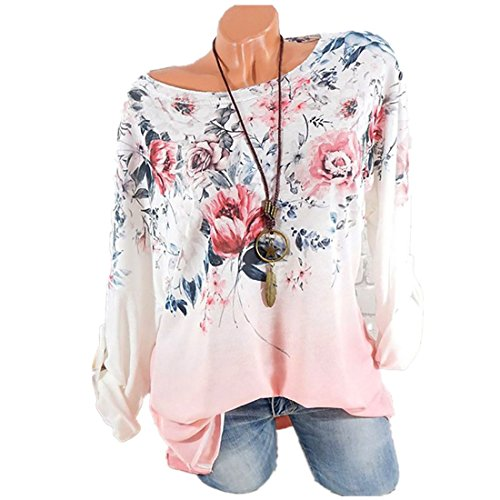 Clearance Plus Size Clothing for Women - vermers Women Casual Long Sleeve T Shirt Fashion Floral Print O-Neck Tops(3XL, Pink) by vermers
