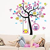 XLarge colorful tree and owls wall sticker nursery bedroom art decoration children holiday party decorative mural removable owl tree baby kid's room art wallpaper decal