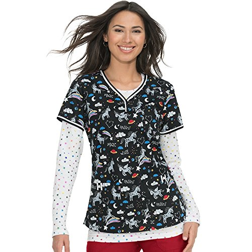 KOI Prints Women's Brea V-Neck Stretch Unicorn Print Scrub Top Medium ()