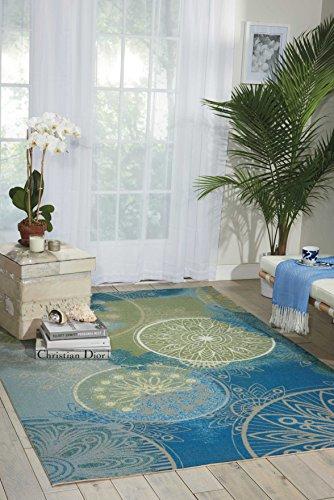 Nourison RS092 Home & Garden Global Medallion Indoor/Outdoor Area Rug, (7'9 x 10'10), Blue Medallion Outdoor Area Rug