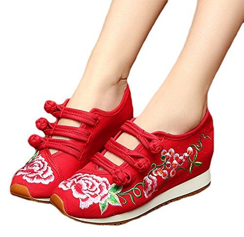 Avacostume Kvinna Kinesisk Broderi Resa Walking Skor Lägenheter Gymnastikskor Röd