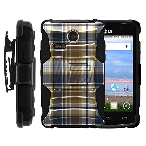 MINITURTLE Case Compatible w/ LG Lucky Case, LG Lucky Holster, Two Layer Hybrid Armor Hard Cover w/ Built in Stand for LG Sunrise L15G, LG Lucky L16C (Straight Talk, TracFone, Net10) from MINITURTLE | Includes Screen Protector Blue Brown Checker Plaid ()