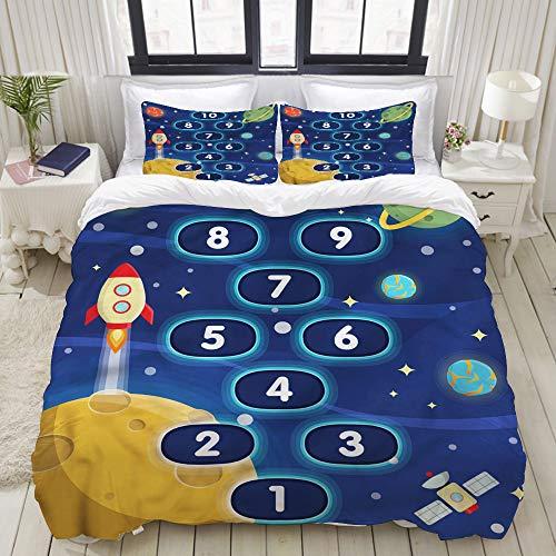 TARTINY Duvet Cover Set, Hopscotch Game, Custom 3 Piece Bedding Set with 2 Pillow Shams, Twin - Hopscotch Set Quilt