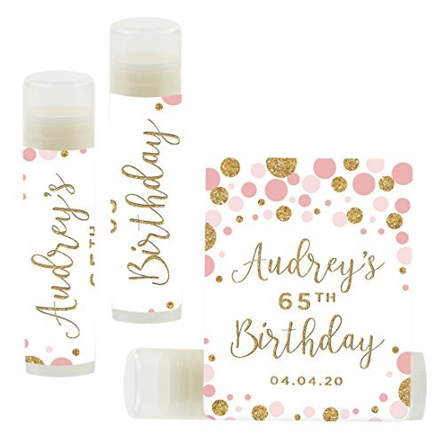 Andaz Press Personalized Milestone Birthday Party Lip Balm Party Favors, Pink Faux Gold Glitter Confetti Dots, Audrey's 65th Birthday, 12-Pack, Custom