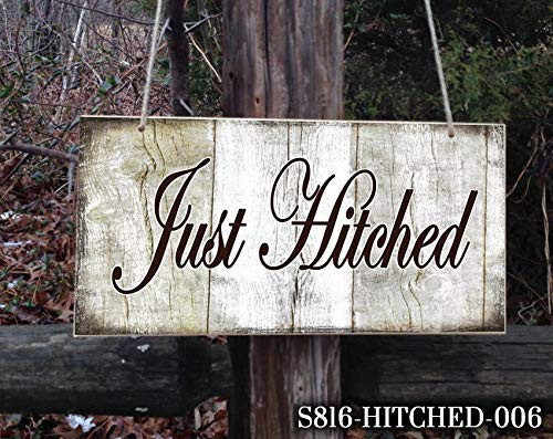 (Iliogine Funny Wood Sign Just Hitched Sign Just Married Custom Wedding Sign Wedding Sign Ring Bearer Sign Wedding Sign Wedding Just Married Ring Bearer Sign Wall Art Decor)