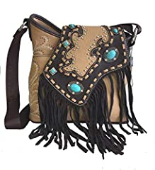 Montana West brand ladies messenger style purse. Made with high quality soft PU leather, Indian style flap cover over to front of purse, decorated with turquoise stones and silver studs. Fringe on flap is made out of genuine leather. Features...