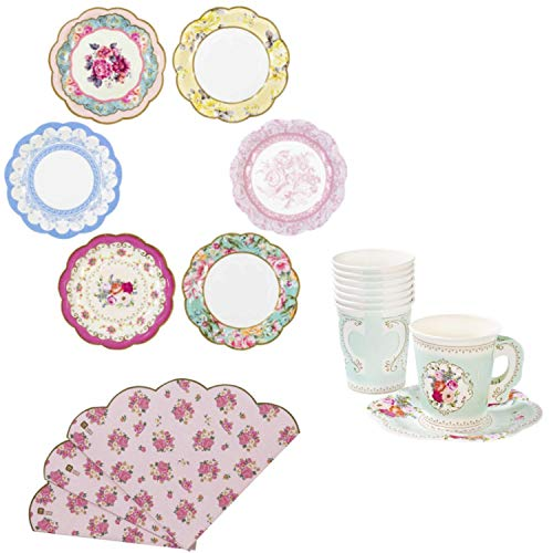 Vintage Tea Party Supplies Disposable Paper Plates Cups Napkins Set Elegant Floral Style
