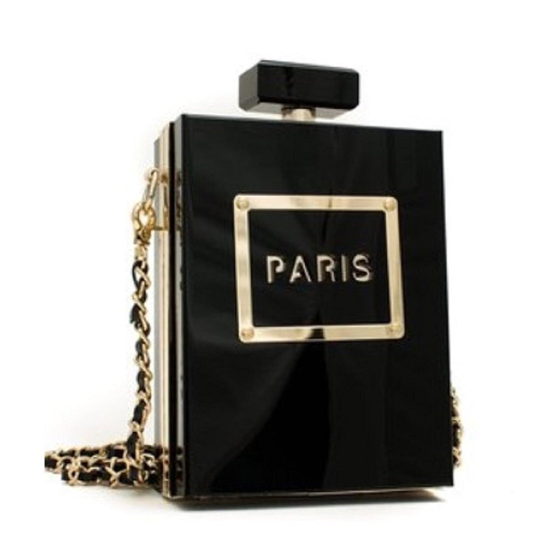 Social Butterfly Collection Paris Perfume Bottle Black Clutch Handbag